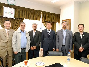FIDE President Mr. Ilyumzhinov, FIDE President`s Assistant Mr. Balgabaev, President of Iran NOC Mr. Garakhanlu and authorities
