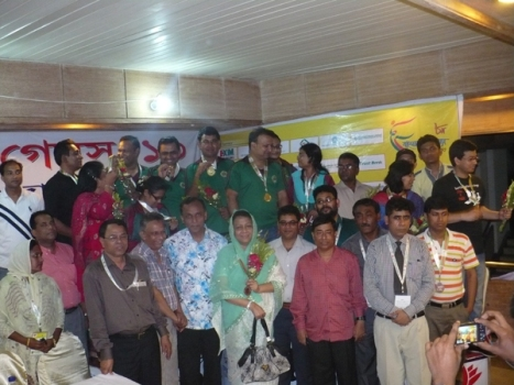 All Medal winners team with Officials of Bangladesh Olympic Association and Chess Federation