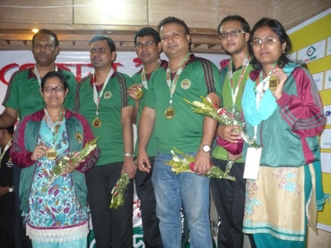 Gold Medal winners Bangladesh Ansar and VDP team in the classical mixed team chess