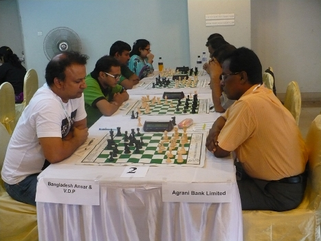 Bangladesh Ansar playing against Agrani Bank Limted in the Classical Chess Mixed Team