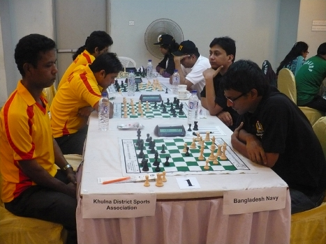 Bangladesh Navy  playing against Khulna District in the Classical Chess Mixed Team