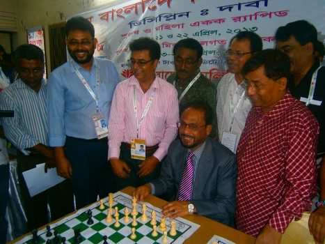 Commerce Minister and President of Bangladesh Chess Federation Gulam Mohammed Quader MP inaugurating the Men and Women Individual Chess events of the 8th Bangladesh Games-1