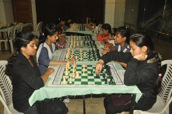 School students playing in the the 13th Standard Chartered School Chess Tournament-2013-2