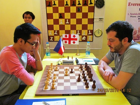 Oliver Barbosa of Philippines won the longest game of the day against Pantsulaia Levan of Georgia