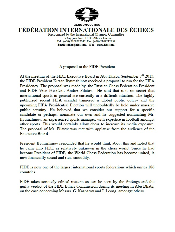 A proposal to the FIDE President