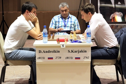 Sergey Karjakin won the Russian derby against Dmitry Andreikin