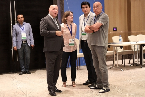 Elman Rustamov Governor of the Central Bank and President of Azerbaijan Chess Federation visited the venue