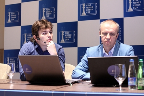 GM Evgeny Romanov joined GM Sergei Shipov in the commentary room