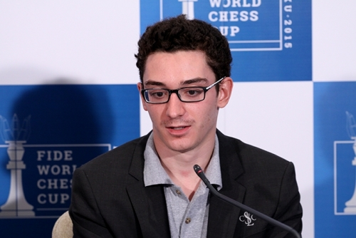 Fabiano Caruana at the post-game press conference