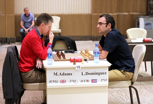 Michael Adams defeated Leinier Dominguez in blitz