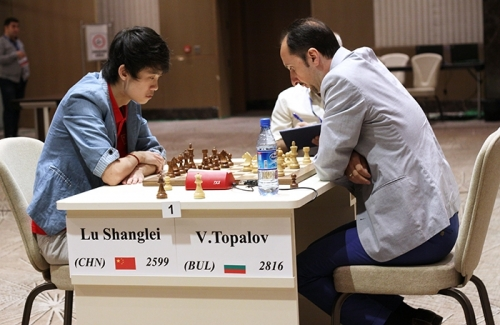 Veselin Topalov winning with white against the young star Lu Shanglei