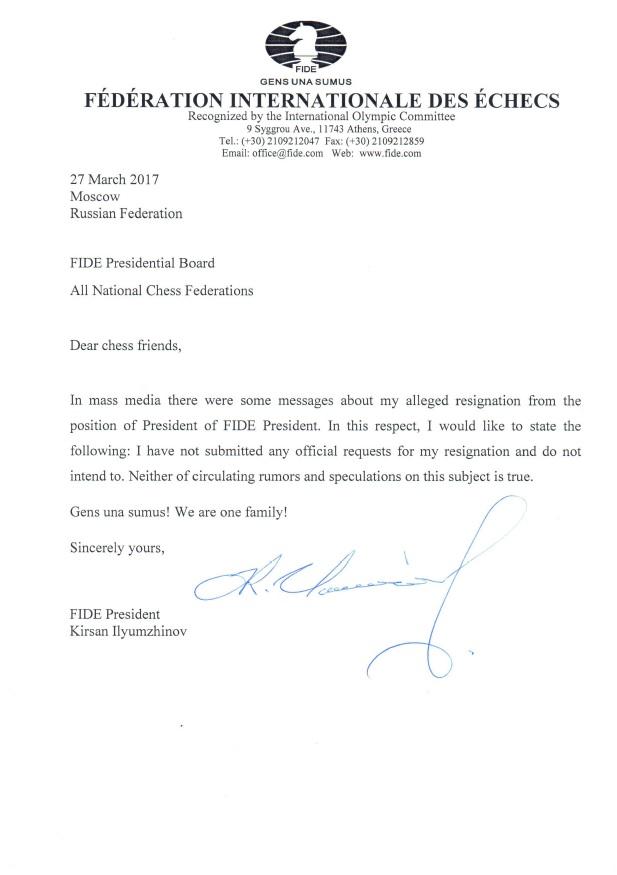 Kirsan Ilyumzhinov addresses federations