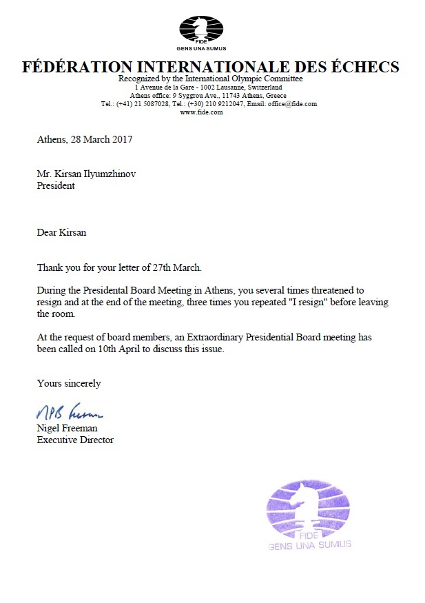 Letter of Nigel Freeman to Kirsan Ilyumzhinov