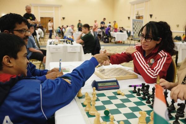 Samarth India and Natasha Puerto Rico after their 3rd Round