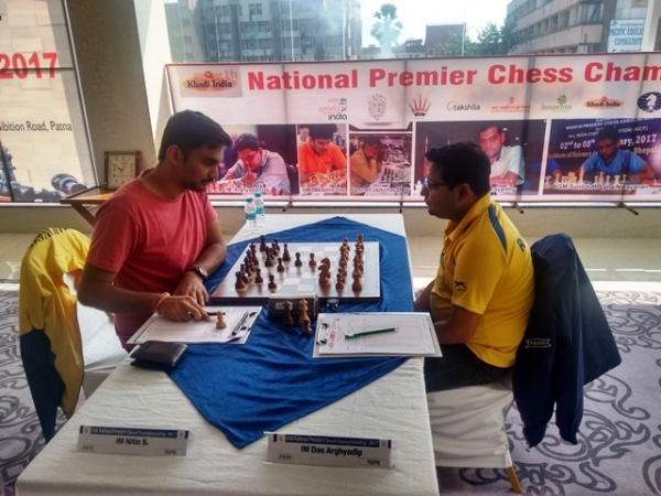 The two international masters from Railways - S Nitin and Arghyadip Das drew their game