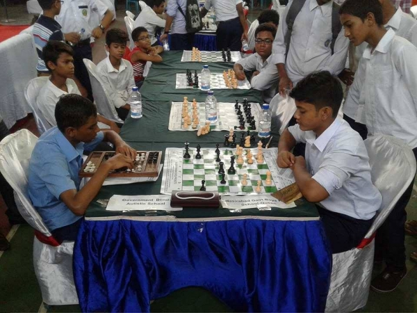 Player of Chittagong Govt School for Blind Left playing in 1st School Chess Teams Chess Tournament-2017 in Chittagong Bangladesh