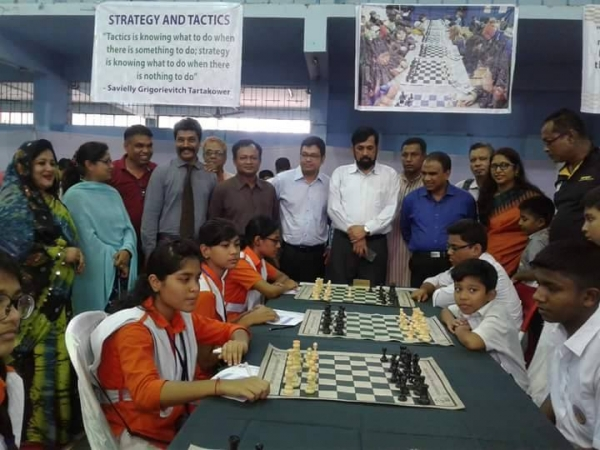 Syed Shahab Uddin Shamim General Secretary of Bangladesh Chess Federation inagurating the 1st School Chess Teams Chess Tournament-2017 in Chittagong Bangla