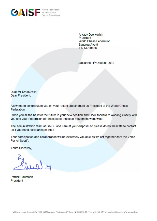 GAISF Letter of congratulations FIDE