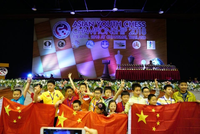 Jubilant Chinese boys and girls