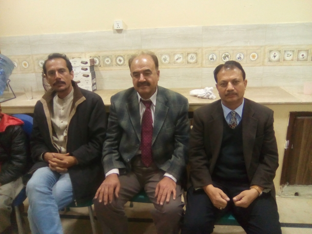 L-R Mr. Waqar Ahmad Madni General Secretary Chess Federation of Pakistan Mr. Abdul Aziz Khan President BCA and IM Mahmood Lodhi