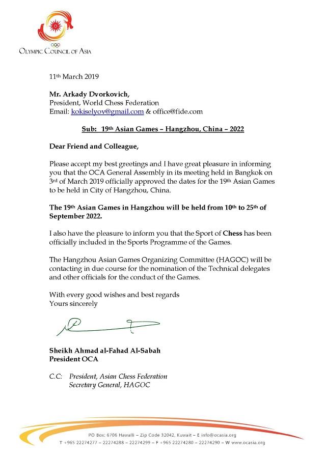 19th Asian Games  Hangzhou China  2022 chess