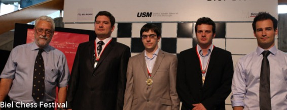 Biel - The podium of the Grandmaster Tournament