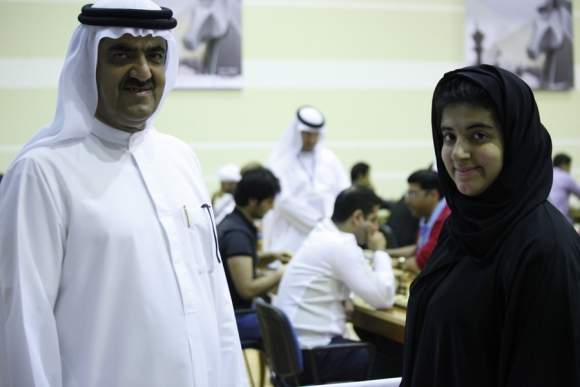 The President of the Sharjah cultural and chess club Sheikh Saud Al Mualla with his sister